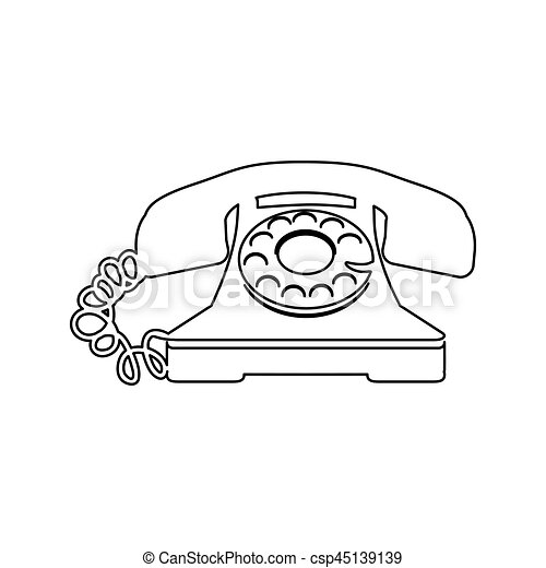 Sketch Antique Phone With Auricular And Cord Vector Illustration