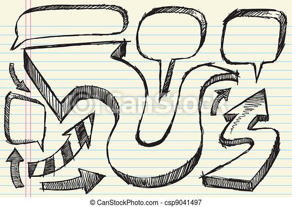 Sketch Arrow and Speech bubble set - csp9041497