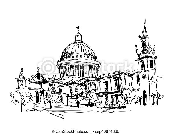 sketch black and white ink drawing of London top view - St. Paul - csp40874868