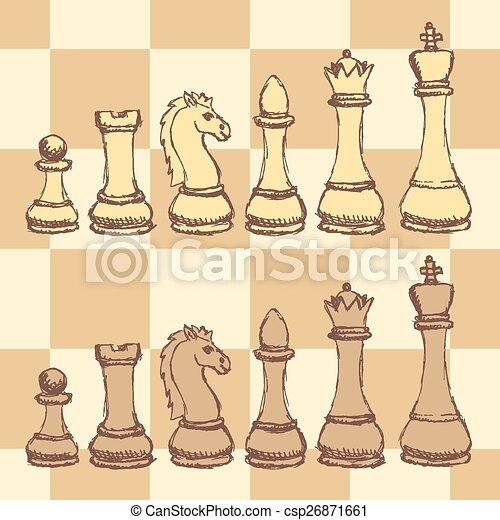 Sketch chess figurel in vintage style - csp26871661