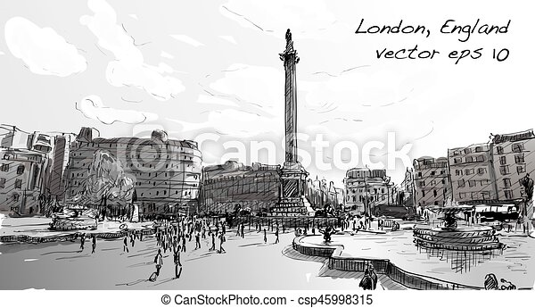 The Line Art Walk London : Sketch city scape in london england shop monunent peoples walk on