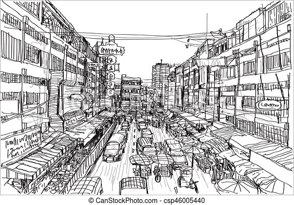 Sketch City Scape Thai Local Market Place In Chiangmai Free Hand