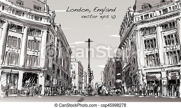 The Line Art Walk London : Sketch cityscape of london england show peoples walk street and