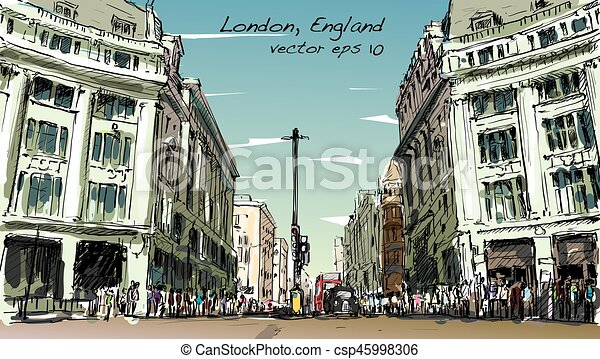 The Line Art Walk London : Sketch cityscape of london england show peoples walk vector