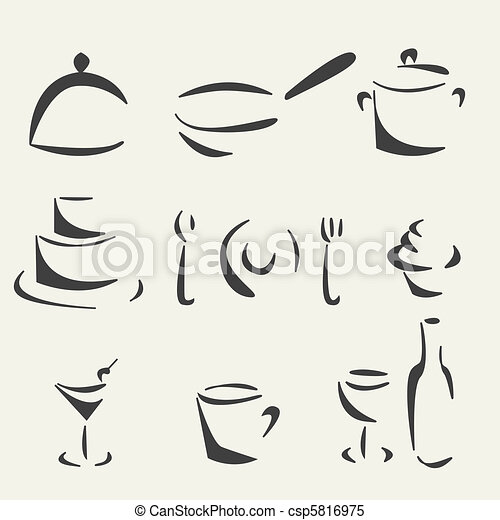 Sketch collection of foods - csp5816975