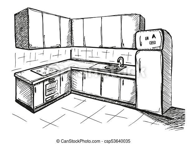 Sketch Cuisine Plan Kitchen Vector Illustration