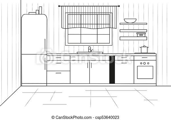 Sketch cuisine. Plan kitchen. Vector illustration - csp53640023