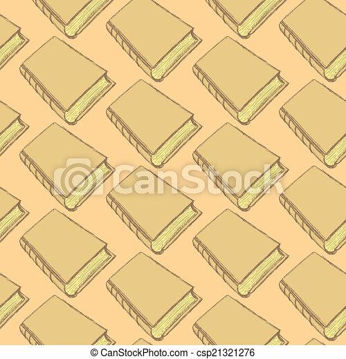 sketch cute book seamless pattern - csp21321276