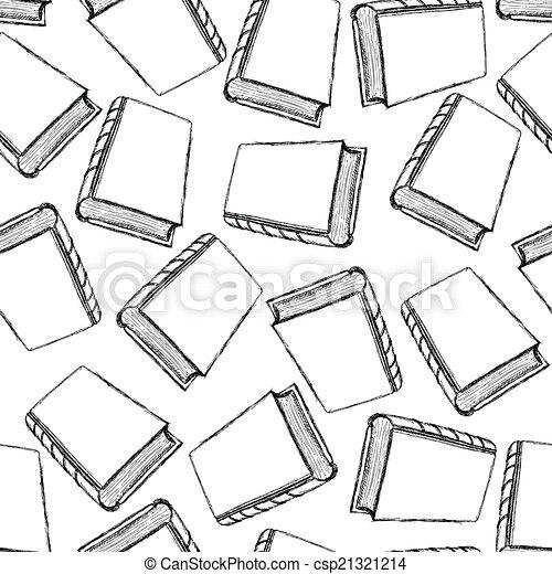 sketch cute book seamless pattern - csp21321214