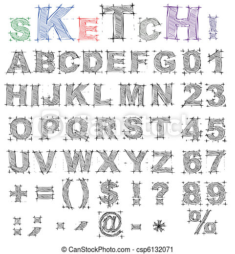 Sketch Design Alphabet Vector