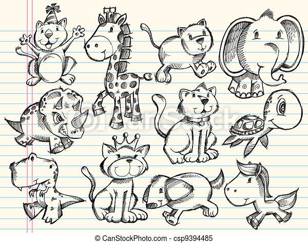 Sketch Doodle Animals Vector Set - csp9394485