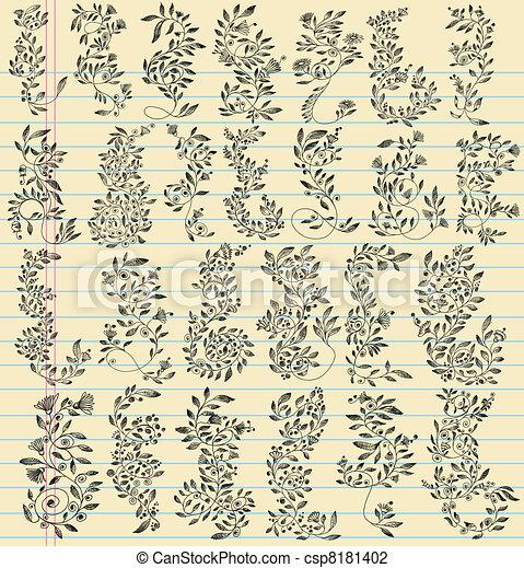 Sketch Doodle Flower Vector Set - csp8181402