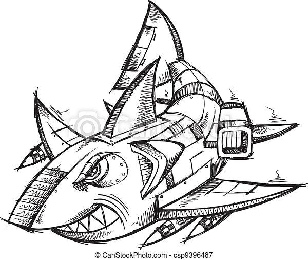Sketch doodle robot cyborg shark vector illustration.