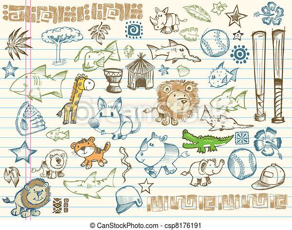 Sketch Doodle Vector Elements Set - csp8176191