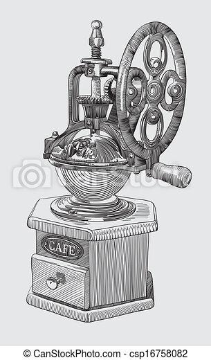 Sketch drawing of coffee grinder.
