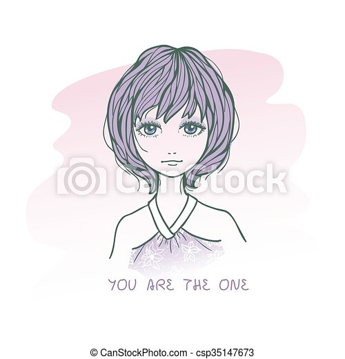 Sketch Drawing Of Cute Sad Girl With Short Hairs Vector