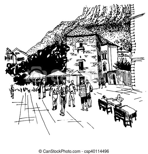 sketch drawing of Kotor street - famous place in Montenegro - csp40114496