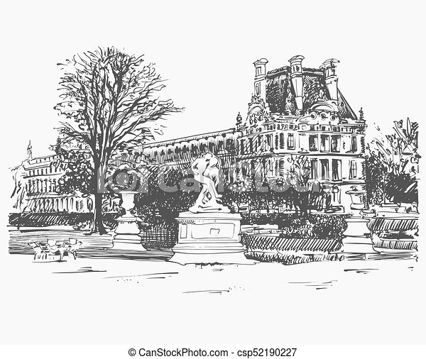sketch drawing of the Louvre, famous place from Paris, France - csp52190227