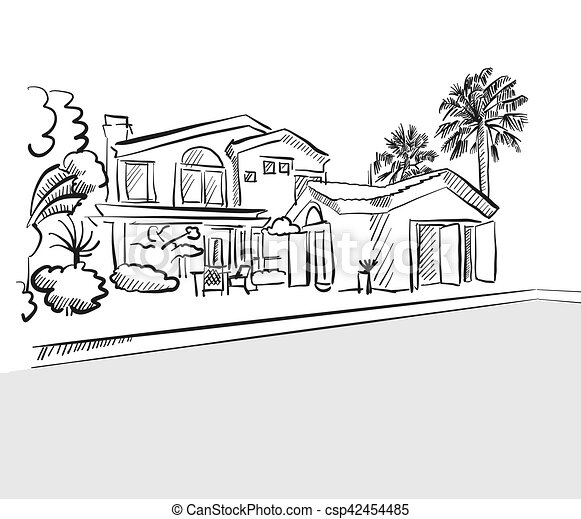 Sketch Dream House Among Palm Trees