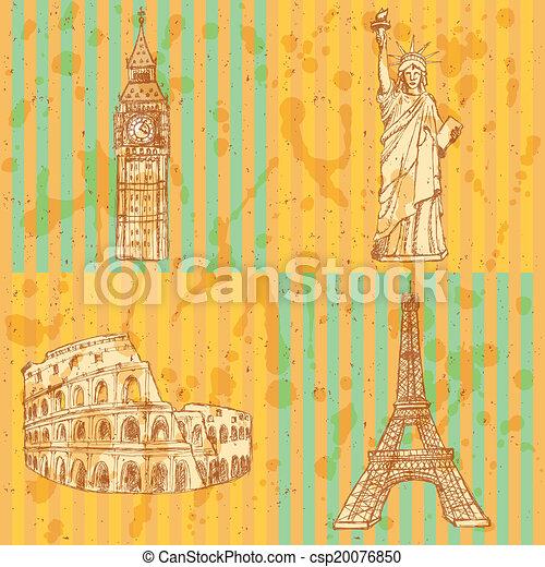 Sketch Eifel tower, Coliseum, Big Ben and Statue of Liberty, vector vintage set - csp20076850