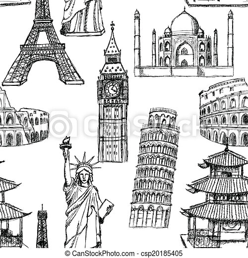 Sketch Eiffel tower, Pisa tower, Big Ben, Taj Mahal, Coliseum, Chinese temple and Statue of Liberty, vector vintage seamless pattern - csp20185405