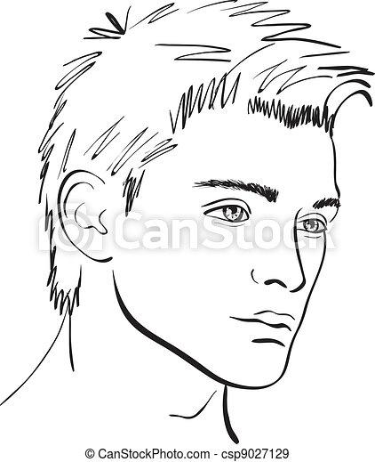 sketch., faccia, vettore, disegnare elemento, uomo - csp9027129