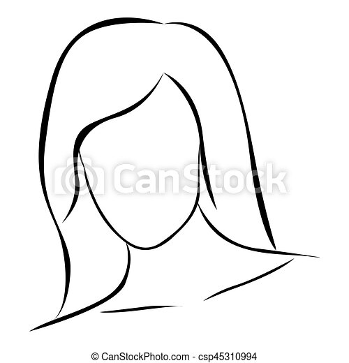 sketch female front view faceless silhouette icon vector illustration