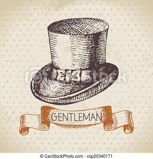 Sketch gentlemen accessory. Hand drawn men illustration - csp20340171
