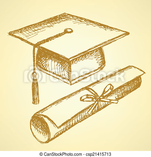 Sketch graduation hat and diploma - csp21415713