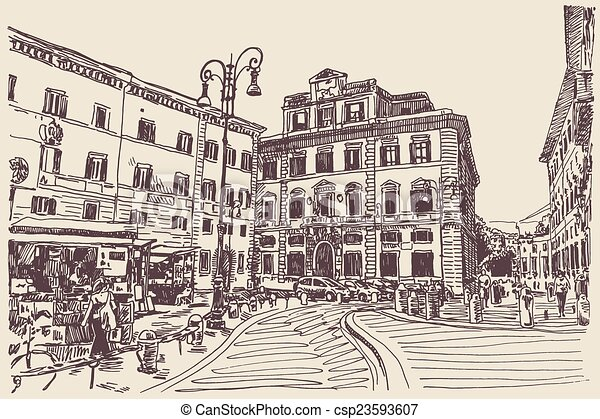 Famous Line Art : Original sketch hand drawing of rome italy famous cityscape