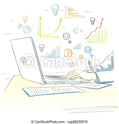 sketch hands using laptop drawing financial graph - csp26230576