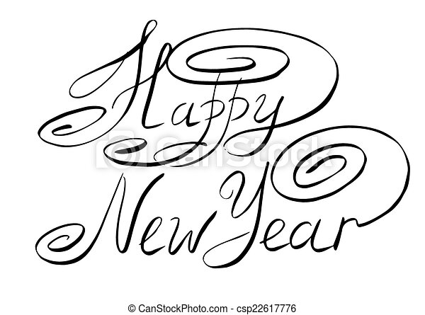Sketch happy new year hand lettering vector illustration sketch happy new year hand lettering csp22617776 altavistaventures Image collections