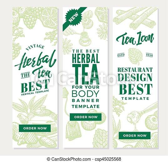 Sketch Healthy Tea Vertical Banners Sketch Healthy Tea Vertical Banners With Organic Herbal Berry And Fruit Ingredients In