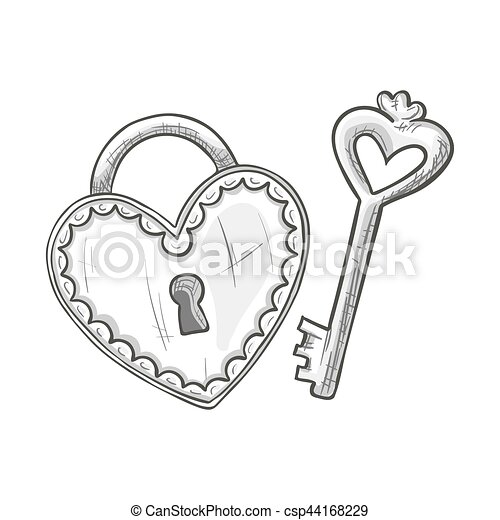 Sketch Heart Shape Lock And Key Monochrome Sketch Style