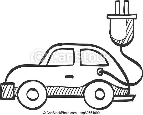 Sketch Icon Electric Car Electric Car Icon In Doodle Sketch Lines