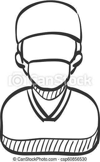 sketch icon surgeon surgeon icon in doodle sketch lines medical Perioperative Team sketch icon surgeon csp60856530
