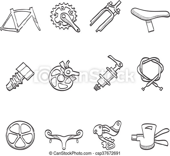 Sketch Icons Bicycle Parts Bicycle Part Icons Series In Sketch