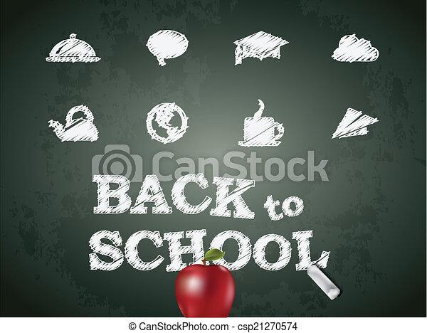 Sketch icons on black chalkboard. Vector illustration. - csp21270574