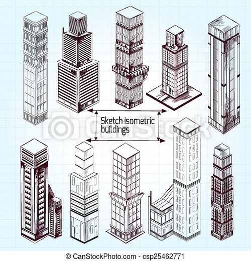 architectural drawings of skyscrapers. sketch isometric buildings - csp25462771 architectural drawings of skyscrapers