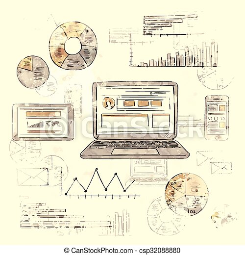 sketch laptop smart phone tablet finance chart old retro diagram grunge  paper background vintage graph infographic hand draw  can stock photo