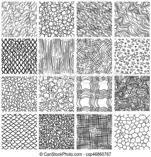sketch linear seamless patterns set sketch linear seamless patterns