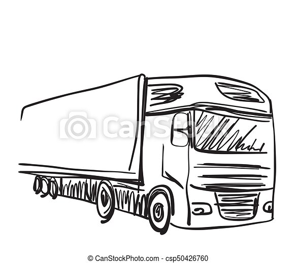 Sketch logistics and delivery poster. truck. Sketch... clip art ...