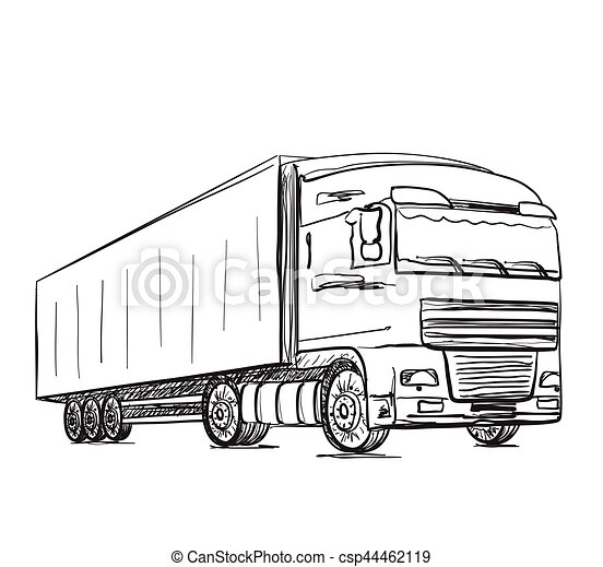 Sketch logistics and delivery poster. hand drawn truck... vector ...