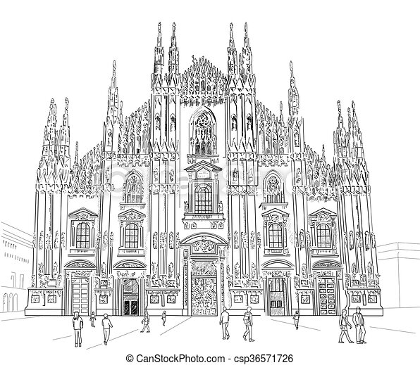 Sketch Milan Cathedral Gothic Architecture Vector