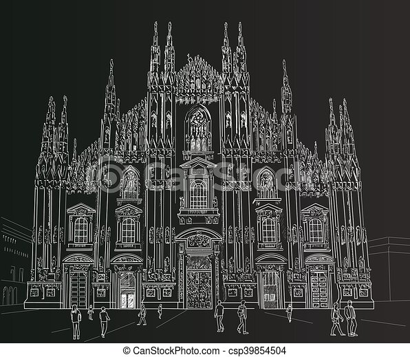 Sketch Milan Cathedral Gothic Architecture