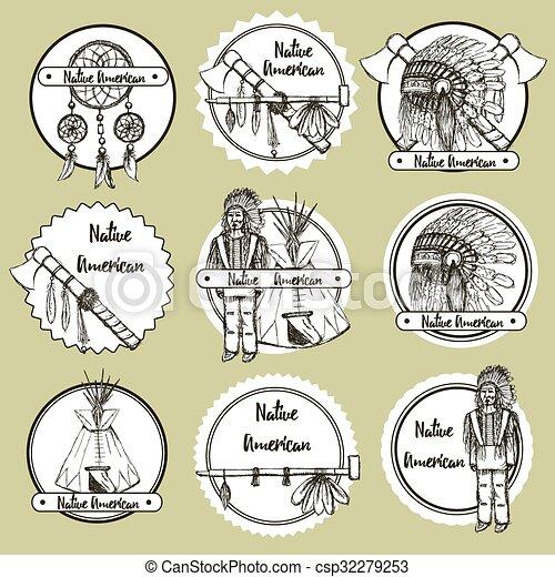 Sketch Native american symbols - csp32279253
