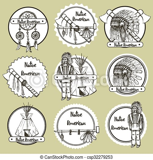 Sketch Native American Symbols In Vintage Style Vector Set Of Emblems