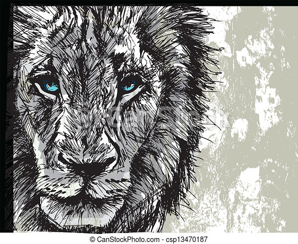 Sketch of a big male African lion - csp13470187