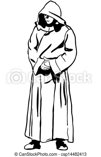 sketch of a man in monk's hood - csp14482413