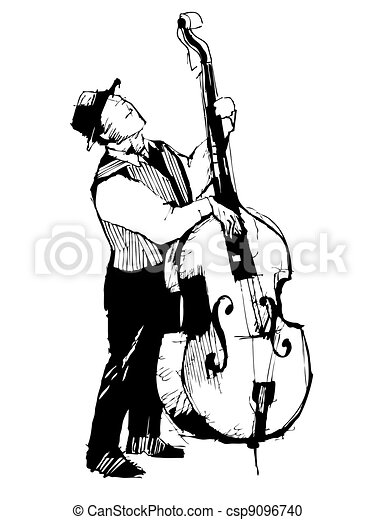 sketch of a musician on the bass viols - csp9096740